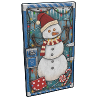 Snowman Door Rust Skin