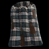 Blue Plaid Sleeping Bag Rust Skin